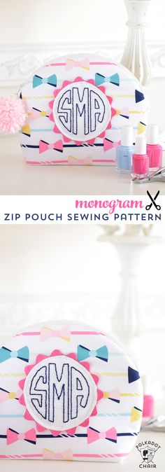 DIY Monogram Arch Top Zip Pouch Sewing Pattern & Tutorial. The design makes a great gift idea for teens or tweens.