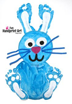 Footprint Bunny Paper Plate Craft for Kids