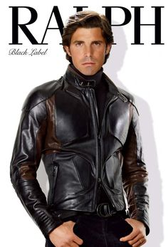 Nacho Figueras rocks a leather jacket for Ralph Lauren Black Label's fall-winter 2009 campaign.
