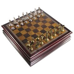 Check out the deal on Antique Pewter Finish Staunton Chess Set in Cherry Finish Storage Box at Your Move Chess & Games