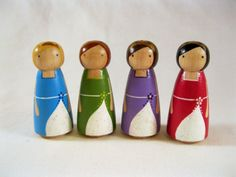 Rainbow Princess Sisters Little Peg Doll Play set. $35.00, via Etsy.