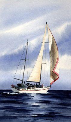 SAIL BOAT Sailboat Art Print Signed by Watercolor Artist DJ Rogers