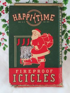 Vintage Box Happi Time Icicles Christmas Tinsel Original Box USA Santa Graphics | eBay