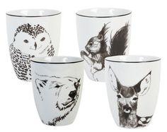 Mug Anouk winter / Set de 4 Noir & Blanc - & klevering - Décoration et mobilier design avec Made in Design