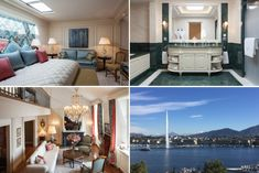 Global Inspirations Design Beau-Rivage Genève: an iconic hotel filled with magic Window Pelmets, Geneva Hotel, Green Mosaic Tiles, Walk Through Closet, Switzerland Cities, Rivage, Spacious Living Room, Entry Hall, Old World Charm