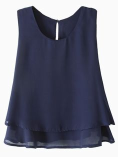 Blue Layered Vest | Choies