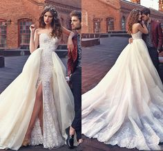 On Sale At Reasonable Prices Buy Zuhair Murad Two 2 Piece Wedding Dresses 2016 Sexy Detachable Lace Appliques Split Sweetheart Chapel Train A Line Bride