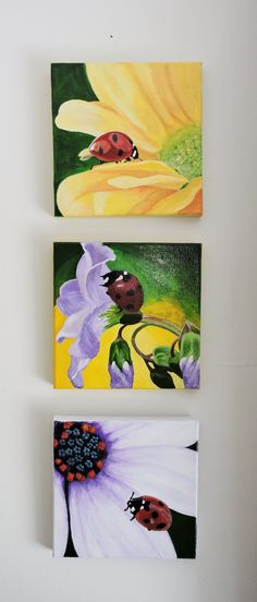 ORIGINAL Trio Set Lady Bugs Acrylic on Canvas 3