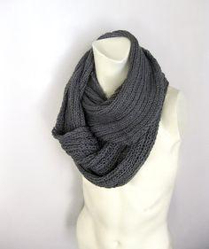 Grey Knitted Scarf Loop Never Ending Hand Knitted by avivaschwarz, $86.00