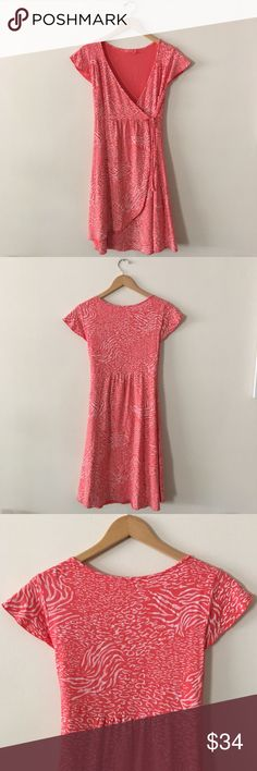 "Fresh Produce Wrap Dress Coral colored wrap dress with tie. Featuring pattern design on white. Great for beach days and vacations. Excellent used condition. Length: 38"" Armpit to Armpit: 17"" Fresh Produce Dresses"