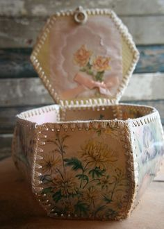 Vintage Postcard Basket or Container - Handmade - Shabby Chic and Romantic