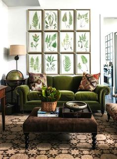 This home decor inspiration has us green with envy! No matter the size of your space, a single statement piece—like this green velvet couch—can add major personality.