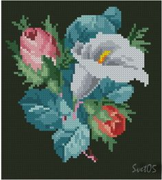 Counted Cross Stitch Kits, Cross Stitch Charts, Cross Stitch Patterns, Crewel Embroidery, Cross Stitch Embroidery, Embroidery Designs, Cross Stitch Landscape, Easter Cross, Magnolia Flower