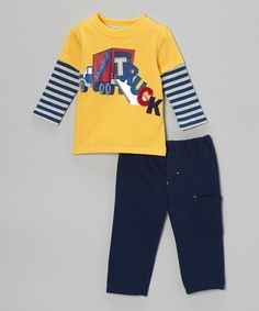 Take a look at this Yellow 'Truck' Layered Tee & Navy Pants - Infant by Watch Me Grow on #zulily today!