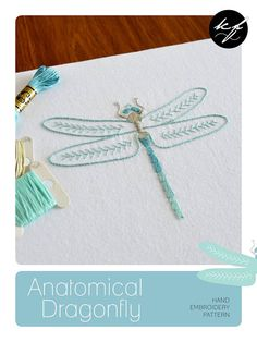 Anatomical Dragonfly One of eight embroidered insects The design measures 4 x 5¼ inches (10 x 13.5cm). This is a six-page hand embroidery pattern in PDF format, which will be available as a digital download from your Etsy Purchases as soon as payment has cleared. ** How to find