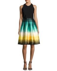 TV7MA Carmen Marc Valvo Sleeveless Ponte & Striped Taffeta Cocktail Dress, Black/Multicolor