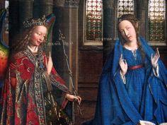 Jan van Eyck, Annunciazione, 1434-1436. Olio su tavola trasferito su tela. Digione, Certosa di Champmol. Washington D.C, National Gallery of Art.