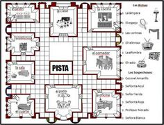 This file contains EVERYTHING you need to play Clue in Spanish with your class: The character, room, and weapon cards; the board with instructions on the back; and the scorecards. I play this during the house vocab chapter since it includes rooms in a hou Spanish Practice, Spanish Games, Spanish Songs, How To Speak Spanish, Spanish Teaching Resources, Spanish Activities, Spanish Language Learning, Vocabulary Activities, Spanish Teacher