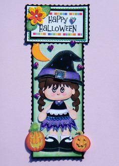 Twag Little Witch Vertical Border 4 Premade Scrapbook Pages Scrapalbum Halloween | eBay