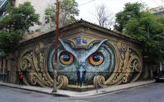 """Street artist WD just completed this owl mural in Athens, Greece for the """"Petit Paris d'Athènes Art Festival"""" 3d Street Art, Murals Street Art, Amazing Street Art, Art Mural, Street Art Graffiti, Street Artists, Amazing Art, Wall Murals, Graffiti Kunst"""