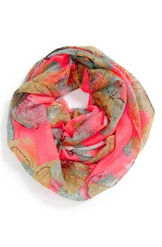 Leaf print infinity scarf for all seasons.