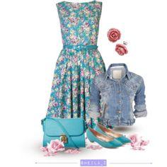 denim & floral outfit