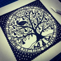 Partridge in a Pear Tree papercut by ©Suzy Taylor