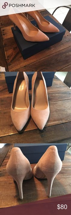 Pour la Victoire Zoie Suede leather pump Beautiful nude color suede pump.  Worn once for a wedding and too large. I need an 8. Pour la Victoire Shoes Heels