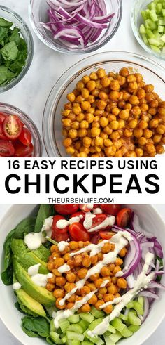 Chickpeas, also known as garbanzo beans, are full of healthy plant-based protein! Here are 16 Recipes Using Canned Chickpeas from salads to tacos, homemade hummus, roasted snacks, and more. Great for lunch, dinner, snacks, dessert. Easy chickpea recipes | how to use chickpeas | pantry staple | pantry recipes | easy pantry meals Chickpea Recipes, Healthy Recipes, Bean Recipes, Vegetarian Recipes, Vegan Breakfast Recipes, Dinner Recipes, Dessert Recipes, Great Roasts, Pumpkin Hummus