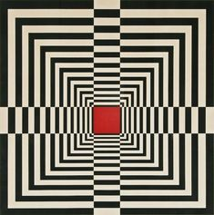 An example of Op art is this piece. Op art was an art movement in the that used mainly black and white motifs, usually geometrical, to create an illusion of movement. Illusion Kunst, Illusion Art, Optical Illusion Quilts, Optical Illusions, Quilt Modernen, Geometric Art, Art Lessons, Pop Art, Contemporary Art