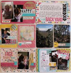 I love how she was able to journal on top of a pretty pattern card (top right) by putting grid paper on top!  {Weekend at Bernii's}