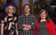 Annie Clark, Andy Samberg, and Aidy Bryant. The SNL season finale will air saturday, may 17th.