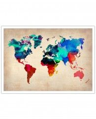 World Watercolor Map-Art Print