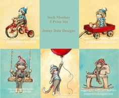 Set of 5 sock monkey prints for nursery or toddler room. cutest sock monkeys ever Monkey Baby Rooms, Monkey Room, Sock Monkey Baby, Monkey Art, Nursery Themes, Nursery Art, Nursery Decor, Monkey Tattoos, Little Monkeys