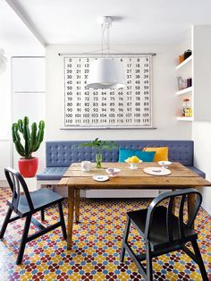 A bench is a good way to add extra seating to a dining nook // Dining Rooms