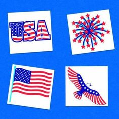"""Amscan Star Spangled 4th of July Patriotic Stars & Stripes Tattoos (24 Piece) Multi Color 4.5 x 5.7"""""""