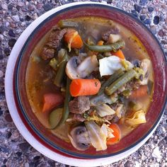Okay so we were actually lacking a little on the regular vegetables so we didn't get in 15... But the stew was still amazing👌 all that was in it was flank steak, white onion, garlic, water seasoned with lemon🍋 and pepper (broth was the water with steak in it!), carrots, zucchini🍆, green cabbage, green onion🌱, green beans, tomato🍅, mushrooms🍄, and broccoli🌳 usually there is some turnip and celery action but we forgot to but that... Anyways! Hope you all have a marvelous Monday😜 sooooo…