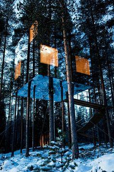 """""""Treehotel"""" w Harads, Szwecja - hotel na drzewie, składający się z kilku domków, na zdjęciu domek o nazwie Microcube - wykonany z aluminium i szkła"""