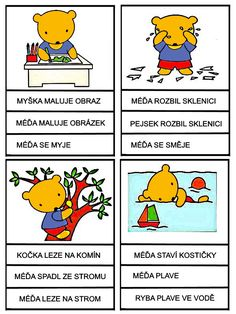 Medvedi - cteni s porozumenim Reading Comprehension, Elementary Schools, Winnie The Pooh, Alphabet, Disney Characters, Fictional Characters, Education, Logos, Cards