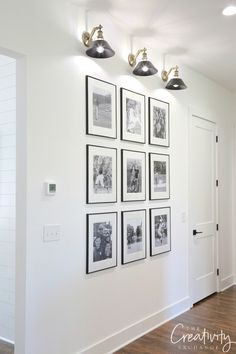 The Easiest Gallery Wall You Could Ever Do – rustic home interior Galley Wall, Gallery Wall Layout, Photo Gallery Hallway, Rustic Gallery Wall, Diy Home Decor, Room Decor, White Wall Decor, Rustic Home Interiors, Frames On Wall