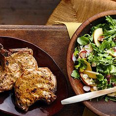 Dijon Pork Chops with Apple Salad From Better Homes and Gardens, ideas and improvement projects for your home and garden plus recipes and entertaining ideas.