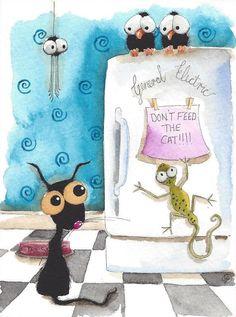 Original watercolor painting whimsical black cat bird crow spider lizard fridge #IllustrationArt