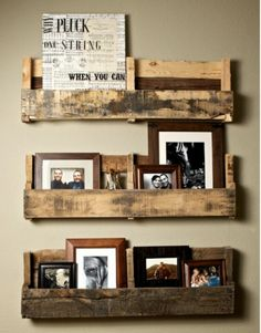 Hang picture frames in a totally new way!! Using reclaimed wood from a pallet.