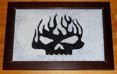 Mosaic Harley Skull  Recycled glass, door, folk art paint