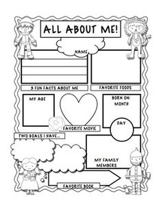 A great first day of school activity. Students fill out the worksheet so you can get to know about them. They can present it to the class, and then hang it up for all to see.Enlarge it on the photocopier for the little ones so they have  enough space to write.