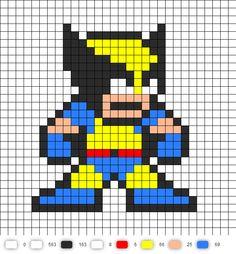 Wolverine X-Men Perler Bead Pattern Fuse Bead Patterns, Perler Patterns, Loom Patterns, Beading Patterns, Pixel Art Templates, Perler Bead Templates, 8bit Art, Graph Paper Art, Peler Beads