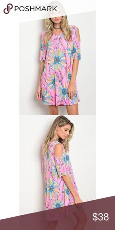 New arrival, flowing pink and blue dress New arrival, pink and blue dress with arm cutouts. 92% polyester 8% spandex. Due to July 4th holiday I can't ship until Thursday or Friday. Dresses Mini
