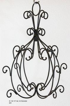 Chandelier Lighting Metal Frame, Black Iron, 1 each  How to add lighting?