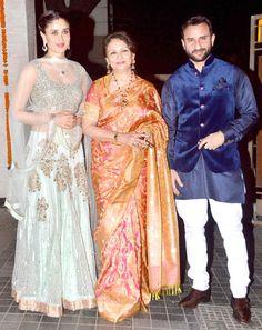 Kareena Kapoor, Sharmila Tagore and Saif Ali Khan at Soha Ali Khan, Kunal Khemu's wedding reception. #Bollywood #Fashion #Style #Beauty