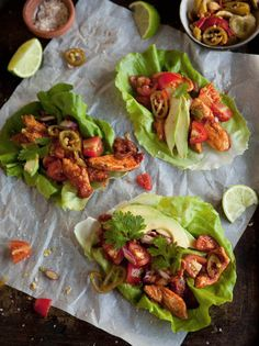 Lettuce 'Tacos' with Chipotle Chicken by drizzleanddrip #Lettuce_Wraps #Chicken #food #foodporn #yum #yummy #tasty #recipe #recipes #like #love #cooking #wrap #wraps